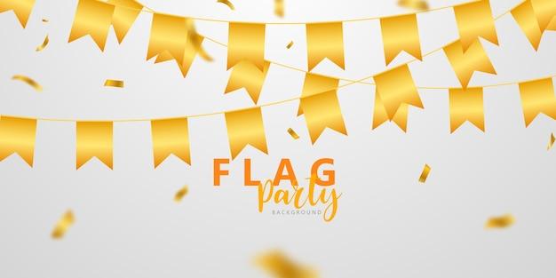 Celebración de la bandera confeti y cintas banner de fiesta de marco dorado
