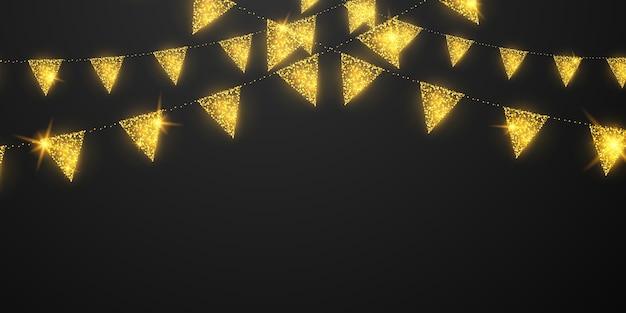 Celebración de la bandera confeti y cintas marco dorado banner de fiesta brillante