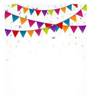 Celebración con banderas de fiesta y confeti