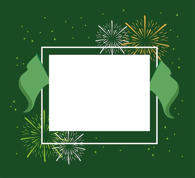 Celebración de banderas de marco verde