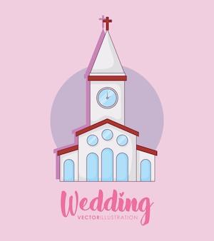 Celebración de bodas con edificio de la iglesia