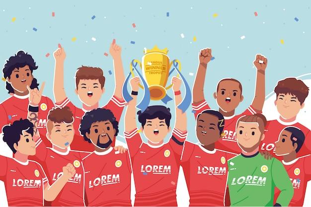 Celebración del campeonato de jugadores de fútbol