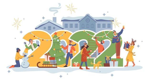 Celebración de la casa de la ciudad de números de personas de año nuevo en el hombre y la mujer de dibujos animados planos de vector de calle
