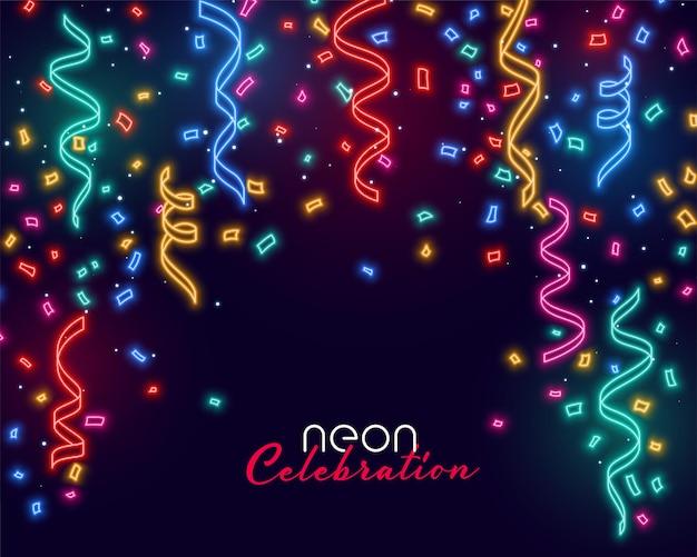 Celebración cayendo confeti en colores de luz de neón.