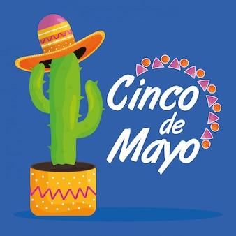 Celebración del cinco de mayo con cactus y sombrero mexicano.