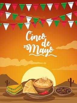Celebración del cinco de mayo con comida ilustración del desierto