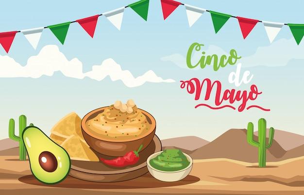 Celebración del cinco de mayo con deliciosa comida escena del desierto