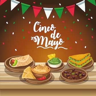Celebración del cinco de mayo con deliciosa comida en la ilustración de la mesa