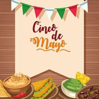 Celebración del cinco de mayo con deliciosa comida en la mesa