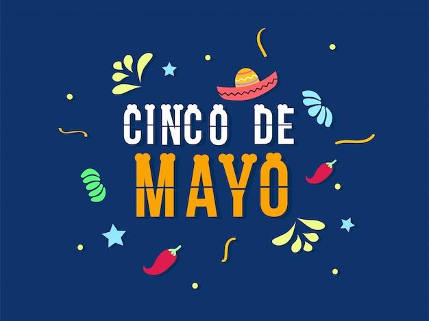 Celebración del cinco de mayo en diseño plano.
