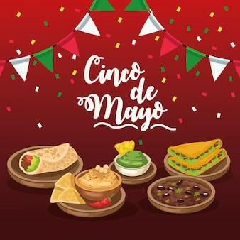 Celebración del cinco de mayo con guirnaldas y comida