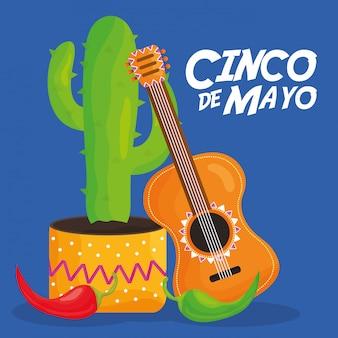 Celebración del cinco de mayo con guitarra y cactus.