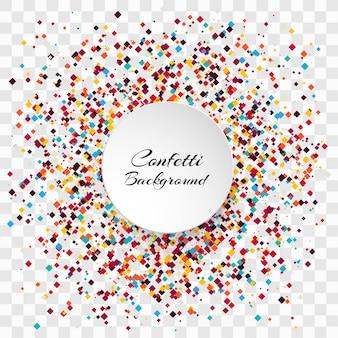 Celebración colorida confeti vector de fondo transparente