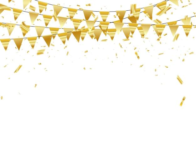Celebración de confeti de cintas doradas.