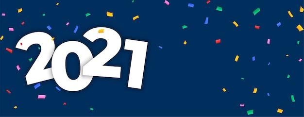 Celebración confeti feliz año nuevo banner