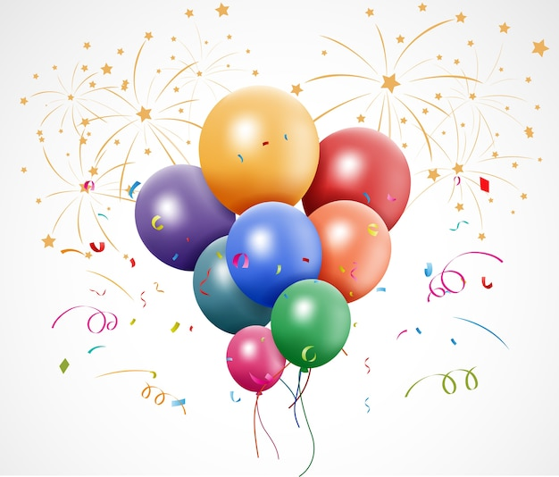 Celebración con confeti y globo