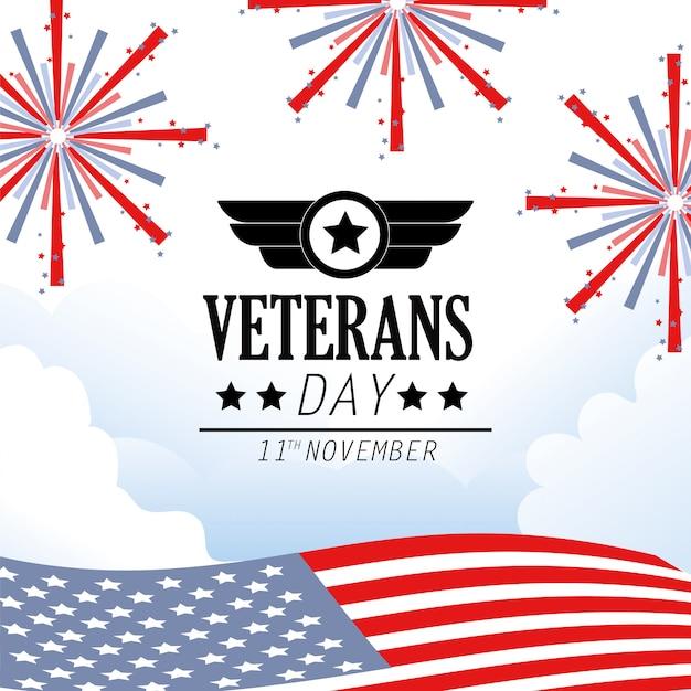 Celebración conmemorativa del día de los veteranos con fuegos artificiales