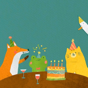 Celebración de cumpleaños de doodle animal