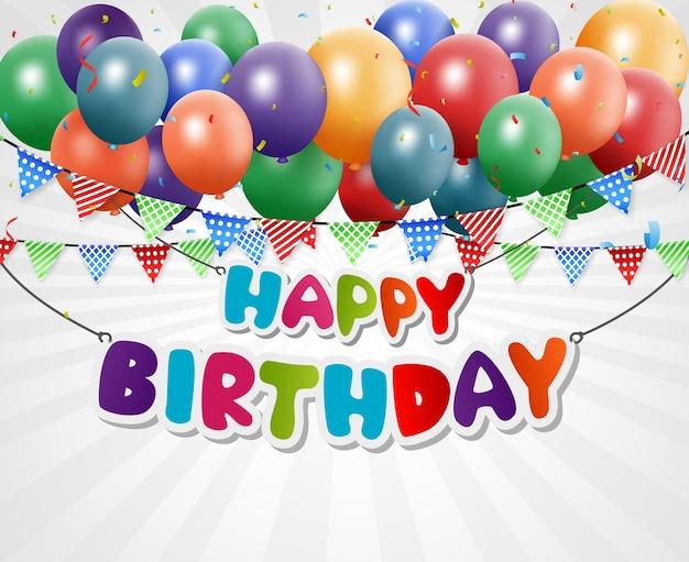 Celebración de cumpleaños con globos y banderas del empavesado
