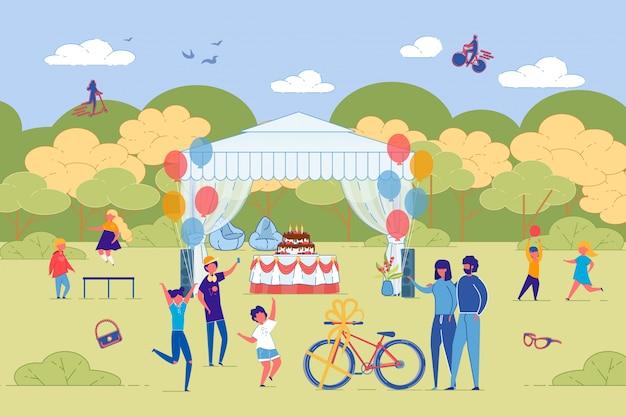 Celebración de cumpleaños de niños al aire libre en el parque