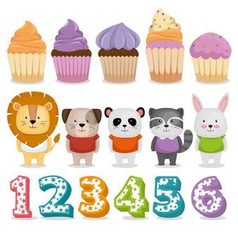 Celebración de cumpleaños set iconos ilustración vectorial diseño