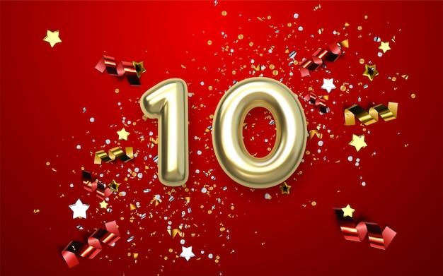 Celebración del décimo aniversario. número dorado con confeti brillante, estrellas, brillos y cintas serpentinas. ilustración festiva 3d realista