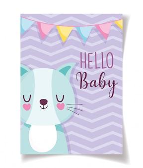 Celebración de decoración de baby shower lindo gato y empavesados, plantilla de invitación de bienvenida