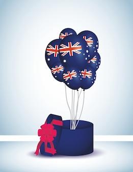 Celebración del día de australia con globos helio y regalo