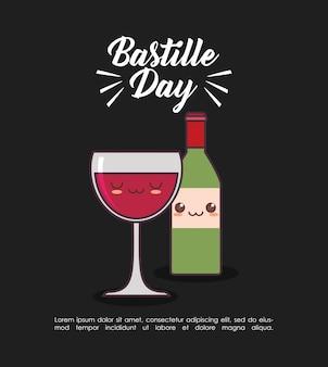 Celebración del día de la bastilla con vino kawaii