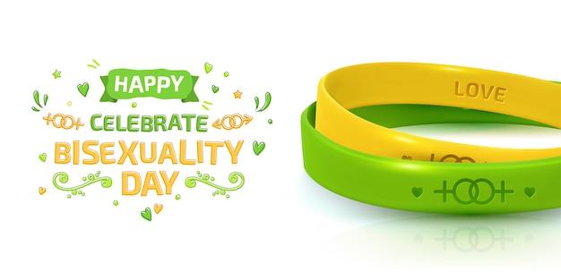 Celebración del día de la bisexualidad. concepto lgbt pride con pulseras de goma.