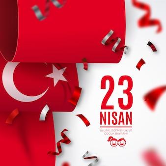 Celebración del día día de la soberanía nacional y del niño con cintas con bandera turca
