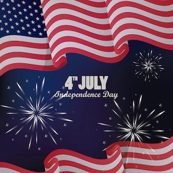 Celebración del día de la independencia del 4 de julio con bandera y fuegos artificiales