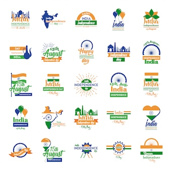Celebración del día de la independencia de india con set de iconos