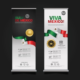 Celebración del día de la independencia de méxico, roll up banner set template.