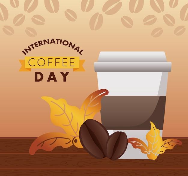 Celebración del día internacional del café con recipiente de plástico y frijoles.