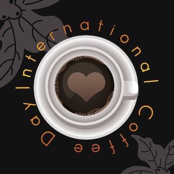 Celebración del día internacional del café con vista aérea de taza y corazón
