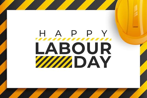 Celebración del día internacional de los trabajadores con casco de seguridad amarillo y herramientas de construcción