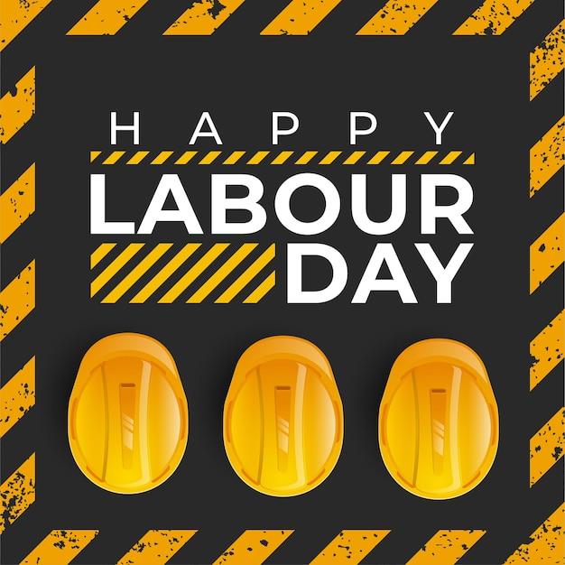 Celebración del día internacional de los trabajadores con casco de seguridad amarillo