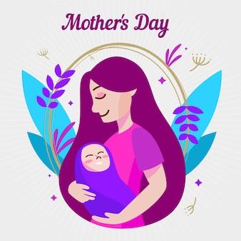 Celebración del día de las madres de diseño plano
