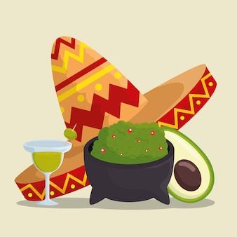 Celebración del día de los muertos con sombrero y comida.