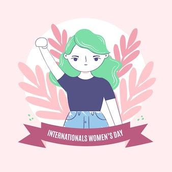 Celebración del día de la mujer estilo dibujado a mano