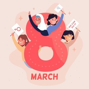 Celebración del día de las mujeres de diseño plano
