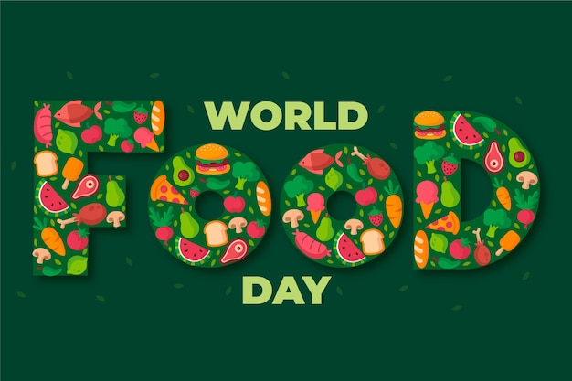 Celebración del día mundial de la alimentación en diseño plano