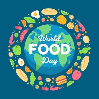 Celebración del día mundial de la alimentación ilustrada