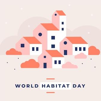 Celebración del día mundial del hábitat en diseño plano