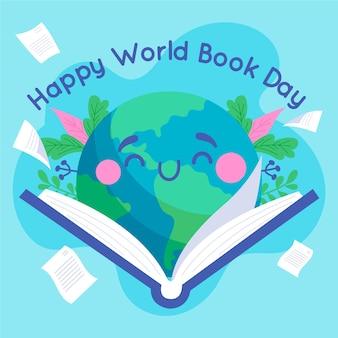 Celebración del día mundial del libro dibujado a mano