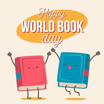 Celebración del día mundial del libro de diseño plano