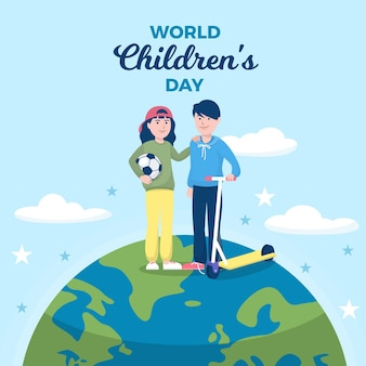 Celebración del día mundial del niño en diseño plano