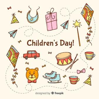 Celebración del día de los niños con ilustración artística.