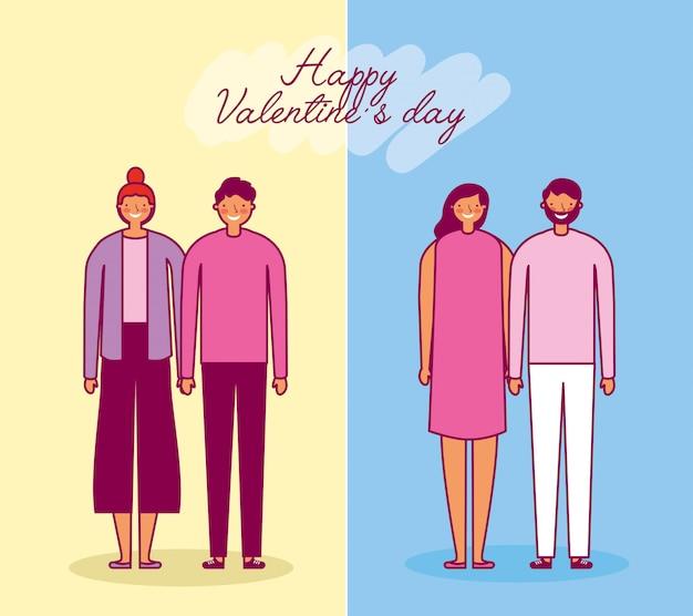 Celebración del día de san valentín con los amantes del grupo de parejas